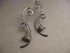 Garnet and Iron in Sterling Silver Earrings
