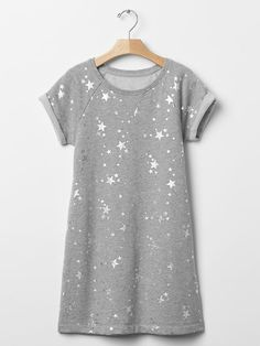 Metallic star sweatshirt dress