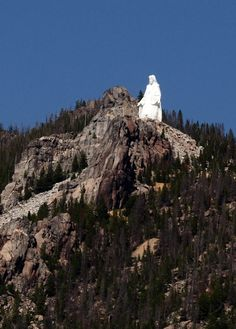 'Our Lady of the Rockies' stands 90' above the Continental Divide overlooking Butte, Montana, and is second only in size to the Statue of Liberty on Staten Island in New York. The wife of a devout Roman Catholic man became fatally ill.  The man vowed that if his wife survived, he would erect a statue of the Virgin Mary in gratitude for sparing her.  His wife healed completely; he kept his promise. This monument to his love and gratitude overlooks my hometown.