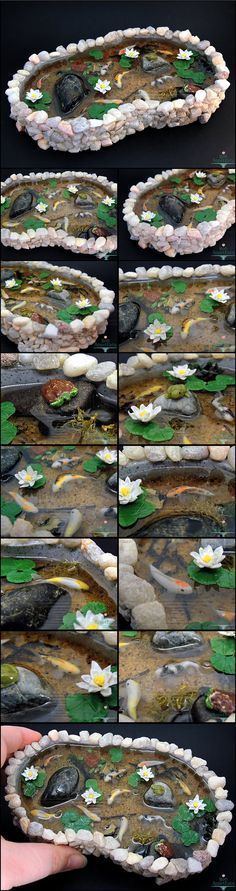 """Commission for a large stone pond with 9 koi fish, one frog, two turtles, and water lilies. Details: The pond base was sculpted from polymer clay and is 6"""" at the widest part. The koi fish, frog, t..."""