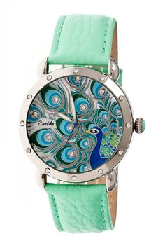 Peacock watch in blue, silver and mint #product_design
