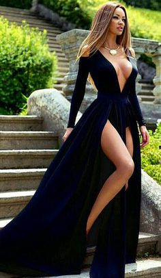 Navy Prom Dress,Floor Length Prom Dress,Split Evening Dress,V Neck Prom…
