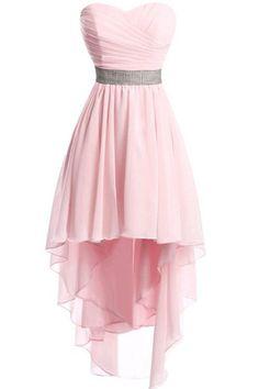 f81dfcd48d5 Women Strapless Lace Up Back Sexy High Low Chiffon Dress - Pink