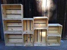 alternating size, extra large wooden crate bookshelf. $435.00, via Etsy.
