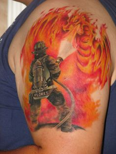 firefighter n flamming dragon tattoo on upper arm - http://tattoosaddict.com/firefighter-n-flamming-dragon-tattoo-on-upper-arm.html arm, dragon, dragon tattoo, dragon tattoos, firefighter, flamming, n, o, on, tatt, tattoo, upper