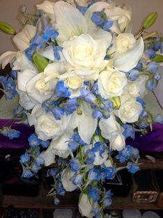 blue and white wedding bouquets | Wedding Flowers | Long Island Themed Wedding Florist | Best Wedding ...