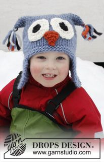 """Otis - Knitted DROPS owl hat with ear flaps in """"Eskimo"""". Size 2-12 years - Free pattern by DROPS Design"""