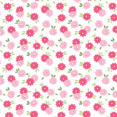 Pam Kitty Morning LakeHouse Fabric POSIE Posies Twin Flowers Pink Red on White
