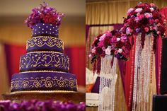 A darker jewel tone wedding cake and decorations for the reception after the ceremony #jeweltone #wedding
