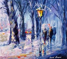 """Snowing Emotions— PALETTE KNIFE Oil Painting On Canvas By Leonid Afremov - Size 30""""x24"""" (75cm x 60cm)"""