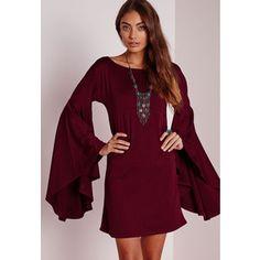 Missguided Flared Sleeve Swing Dress Burgundy