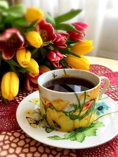 the color of the soul Good Morning Coffee Images, Good Morning Tea, Good Morning Flowers Gif, Good Morning Happy Monday, Special Good Morning, Morning Images, Coffee Cup Art, Coffee Club, Tea Cup Image