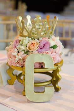 Vibrant replied quinceanera party themes her comment is here Princess Centerpieces, Vintage Wedding Centerpieces, Party Table Centerpieces, Quinceanera Centerpieces, Wedding Table, Centerpiece Ideas, Crown Centerpiece, Garden Wedding, Quince Centerpieces