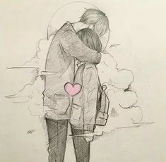 Image may contain: drawing Cute Couple Drawings, Anime Couples Drawings, Couple Sketch, Cute Couple Art, Cool Art Drawings, Pencil Art Drawings, Art Drawings Sketches, Romantic Drawing, Anime Love