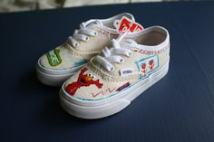 Elmo's World Toddler Vans by ThoseInFavor on Etsy, $75.00    So looks like I am going to attempt to make some elmo shoes!