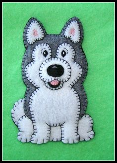 HUSKY-MALAMUTE Puppy Ornament-Magnet combo. Handmade embroidered felt-original designs. Pudgy Puppy Series. Limited. Fun gift idea.