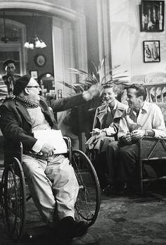 Lionel Barrymore, Lauren Bacall and Humphrey Bogart on the set of Key Largo (1948) http://25.media.tumblr.com/a917a43e7fef4d44fe2115bb0c84c87e/tumblr_mi0hgpolPA1qdwl9jo1_500.jpg