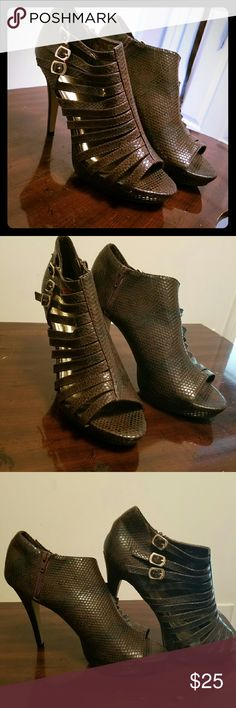 Heels- Brown & Black- Snakeskin Heels (Not real Snakeskin) Shoes Heels