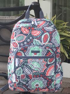Vera Bradley Campus Backpack Bookbag Nomadic Floral Cotton Quilted for sale online Cute Backpacks For School, Girl Backpacks, Backpacks For High School, Leather Backpacks, Leather Bags, Vera Bradley Purses, Vera Bradley Backpack, Vera Bradley Patterns, Floral Backpack