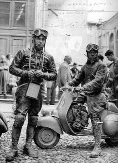 Two Vespa pilots from the book called '9 Medaglie d'Oro'. The Vespa is a wonderful 'Sei Giorni'.
