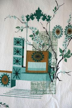Turquoise, Teal and Olive Brown Barkcloth by happyflowerhead, via Flickr