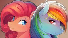 #565273 - artist:antiander, artist:shawnyall, lesbian, pinkiedash, pinkie pie, rainbow dash, safe, shipping, simple background, wallpaper - Derpibooru - My Little Pony: Friendship is Magic Imageboard