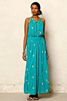 NEW Anthropologie Floreat turquoise Skyscape Maxi Dress embroidered 0 $168 #Floreat #maxiembroidereddress #versatile