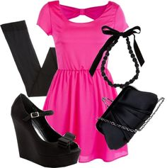 """""""pink dress"""" by haterism on Polyvore"""