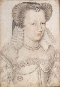 Sketch of Louise of Lorraine (1553 - 1601). Louise was Queen of France from 1575 to 1589 through her marriage to  Henri III; they had no children.