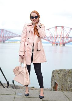 spring outfit: Pink Zara trench coat with black cropped jeans and pointed ballet flats