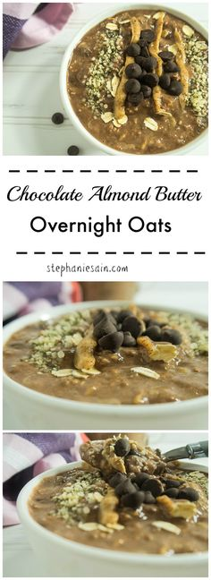 Chocolate Almond Butter Overnight Oats are the perfect, tasty, quick grab and go breakfast or snack! Can be customized with toppings you love. Vegetarian, Gluten free and could do vegan option.