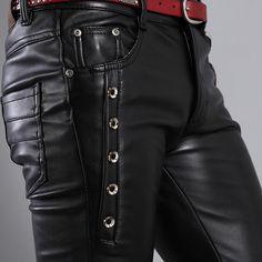Outono e inverno calças de couro apertadas calças de couro preto corrente de maré 27 36 em Calças Casuais de Roupas e Acessórios - Masculino no AliExpress.com | Alibaba Group