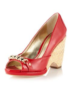 Carmen Peep-Toe Wedge, Tomato by Elaine Turner at Last Call by Neiman Marcus.