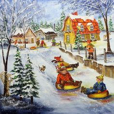 Glissade du fou rire! 24x24 Christmas Images, Winter Christmas, Vintage Christmas, Winter Pictures, Cute Pictures, All Nature, Country Art, Christmas Illustration, Naive Art