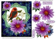 Frost Flowers Exotic Bird Topper Decoupage on Craftsuprint - Add To Basket!