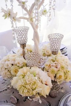Hermoso centro de mesa 25 Ideas for Centerpieces Wedding Reception Photos on WeddingWire Wedding Reception Centerpieces, Table Centerpieces, Reception Decorations, Wedding Table, Centerpiece Ideas, White Centerpiece, Centrepieces, Centerpiece Flowers, Wedding Receptions