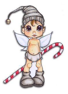 Tampon digital Satturated Canary, toujours - Mise en couleurs Copic et crayon gel blanc Un petit lutin de Noël qui viendra prendre place dans mon Journal de Décembre... et qui avec son ventre à l'air nous donne l'occasion de parler un peu des couleurs...