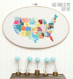 Huge Fabric US Map Hoop Art