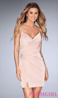 fc1f7952e7e Mock-Wrap Open-Back Homecoming Dress with Ruching
