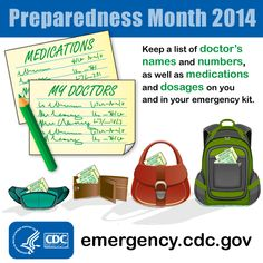 Keep your medical dosage and doctors' contact information in your emergency kit. Also include written instructions on any special medical assistance you may need during an emergency.