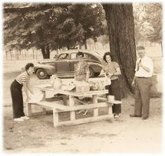 Anytime we traveled, mom would pack a cooler for picnicing.  Dad would pull over to a roadside picnic area when we were hungry or us kids wouldn't stop fighting in the back seat.  Ah memories.