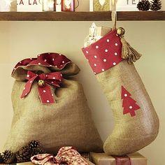 Spotty Hessian Christmas Santa Sack