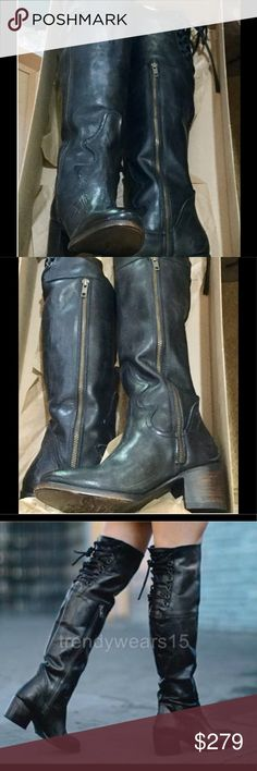 "Freebird by Steve roll boot OTK  Black NWT Distressed side zip leather boot Back lace detail Tall 19 3/4"" shaft 15"" calf circumference 2 1/4"" heel Steve Madden Shoes Over the Knee Boots"