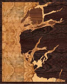 16x20 Woodcut Map of Fjordland National Park, New Zealand