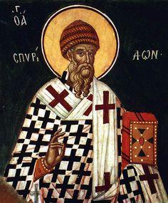 Saint Spiridon, the patron of Corfu Byzantine Icons, Byzantine Art, Russian Icons, Best Icons, Patron Saints, Orthodox Icons, Illuminated Manuscript, Religious Art, Painting