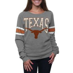 Texas Longhorns Ladies Slouchy Pullover Sweatshirt - Silver