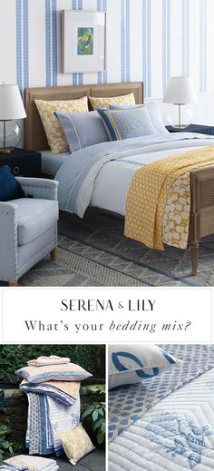 What is your bedding mix? We believe mixing pattern and color makes a bedroom pop and is a great way to express your personality. Find your perfect mix today at Serena & Lily. Dream Bedroom, Home Bedroom, Master Bedroom, Bedroom Decor, Modern Bedroom, Kids Bedroom, Bedroom Ideas, Guest Bedrooms, Shabby Chic Bedrooms