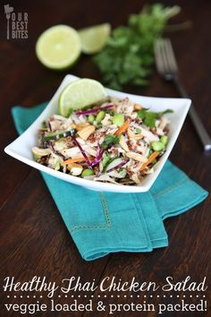 Healthy Thai Chicken Salad {For Perfect for lunch time, and packs in a whopping 40 grams of protein!this was so yummy! Pb2 Recipes, Peanut Butter Recipes, Asian Recipes, Cooking Recipes, Healthy Recipes, Thai Recipes, Recipies, Dinner Recipes, Coffee Recipes
