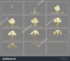 Fog vertical explosion special effect fx animation frames sprite sheet. Explosion frames for flash animation in games, video and cartoon.