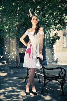 Pink Flamingo Bride Dress: vintage style / pin-up / rockabilly wedding dress by TiCCi Rockabilly Clothing Rockabilly Wedding Dresses, Rockabilly Outfits, Rockabilly Clothing, Estilo Pin Up, Pin Up Dresses, Girls Dresses, Prom Dresses, Summer Dresses, Marlene Dietrich